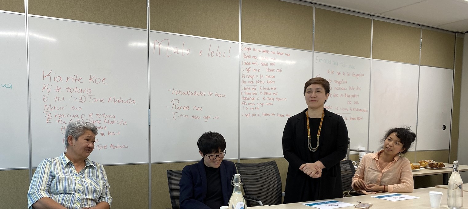 Yi-Jen Tu Pisuy Bawnay visited New Zealand Human Right Commission's Auckland Office.(Photo from left to right Prof. Linda Waimarie Nikora, Prof. Ciwang Teyra, Pisuy Bawnay, and Yi-Jen TU)